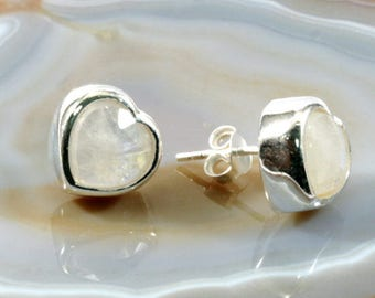 Moonstone and silver earstuds  --  4887