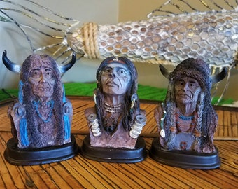 Vintage Native American Indian Resin Bust Figurines/Statues Southwestern Decor/Western Decor Folk Art 1998 AIC