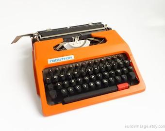 Vintage Design Orange Typewriter / Robotron Working Typewriter / Germany DDR 70s 80s