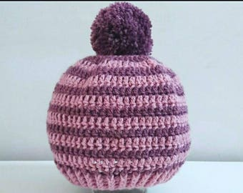 Crochet pompom hat, 1-2 years, toddler hat, kids hat, girls winter hat, winterwear, kids gifts, bobble hat, gifts for kids, back to school