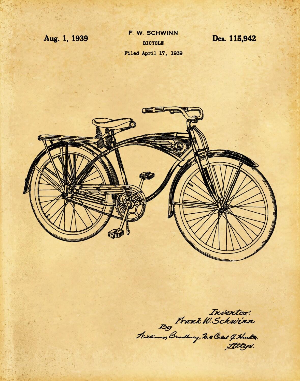 Patent 1939 Schwinn Bicycle Invented by Frank Schwinn - Art Print ...