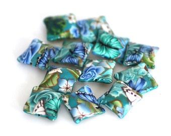 Blue Greens Polymer Clay Pillow Beads, Bead Dozen, Sea Garden Beads, 12 Pieces - Made to Order