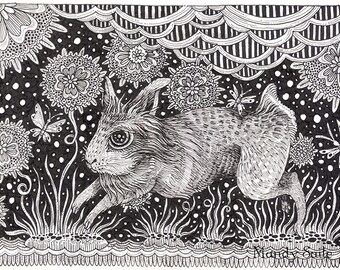 "Rabbit Ink Drawing 13 - a whimsical black & white ink pen 8 x 10"" ART PRINT of a dancing leaping happy rabbit playing in a field of flowers"
