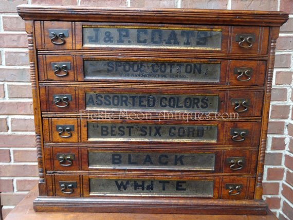 J & P COATS Antique Spool Cabinet - Antique Spool Cabinet Antique Furniture