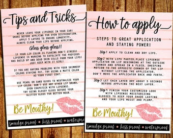 LipSense How To Apply And Tips And Trick Cards - SeneGence Marketing Cards - Instant Download - YOU PRINT - 5x7 and 4x6
