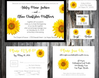 Sunflower Wedding Invitations, RSVP's, Reception Insert w/ FREE Calendar Stickers