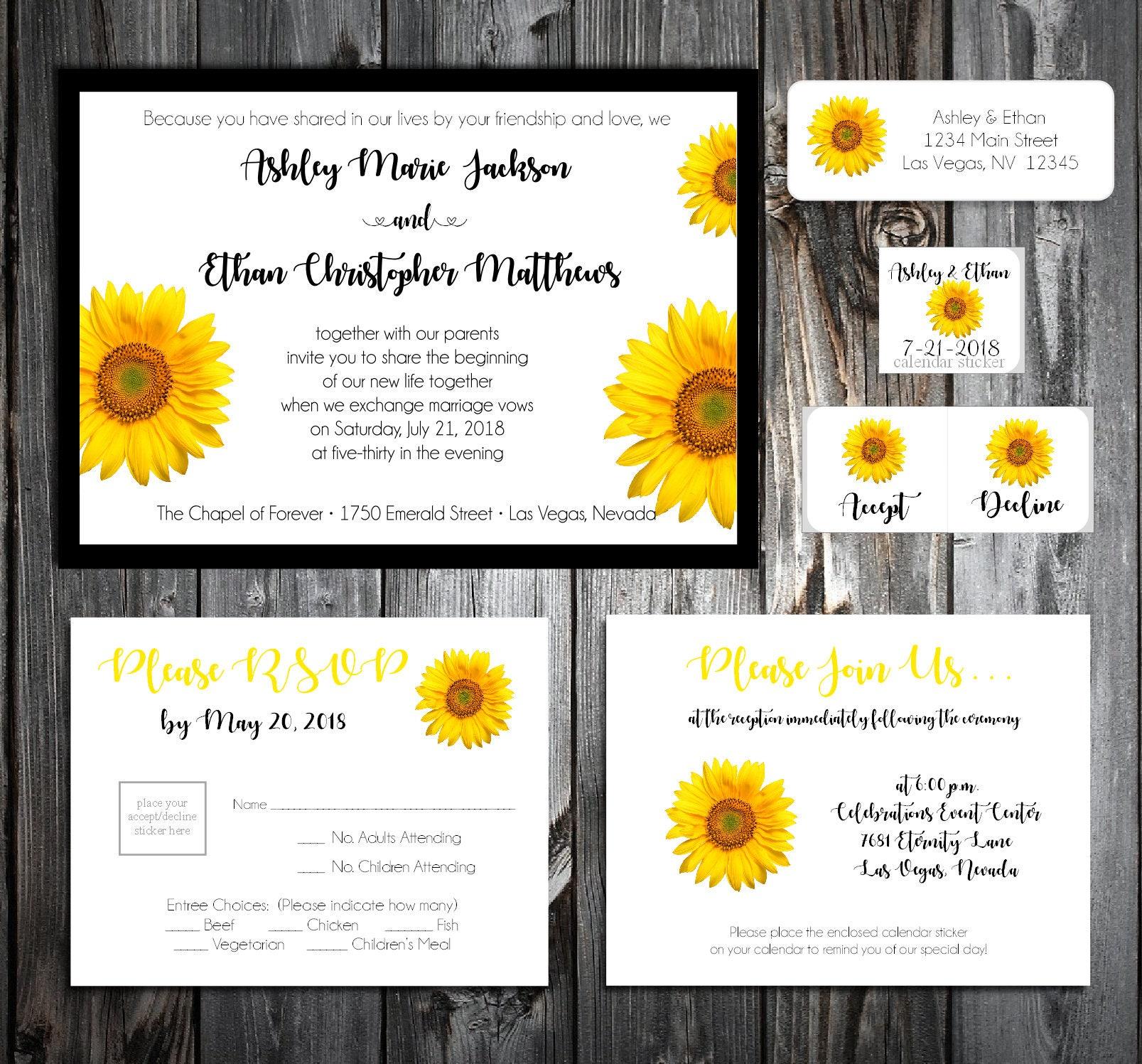 Sunflower Wedding Invitations, RSVP\'s, Reception Insert w/ FREE ...