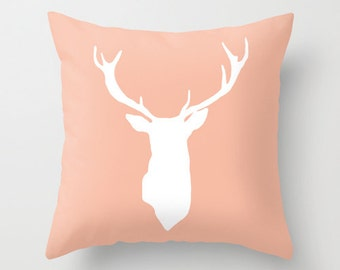 Deer Antlers Pillow with insert - Peach Deer Pillow - Modern Deer Throw Pillow - Woodland Home Decor -