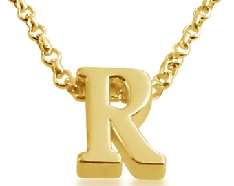Initial Letter R Personalized Letters Serif Font Charm Pendant Necklace #14K Gold Plated over 925 Sterling Silver #Azaggi N0597G_R