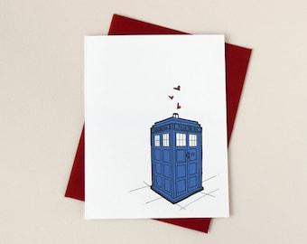 Doctor Who Inspired Tardis Love Valentine Card