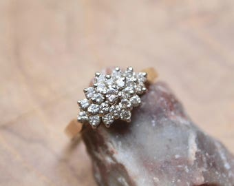 Vintage GOLD and DIAMOND CLUSTER engagement ring