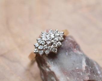 Jahrgang GOLD und Diamant-CLUSTER Verlobungsring