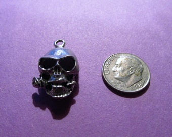Dozen Pewter Skull With Rose In Mouth Pendants