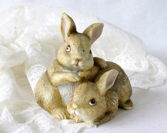 Vintage Bunny Figurine - Porcelain Homco 1455 Brown Baby Rabbits Knick Knack - Collectible Bunnies Home Decor