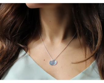 personalized jewelry • initial necklace • sterling silver necklace • silver initial necklace • initial disc • disk necklace • B089