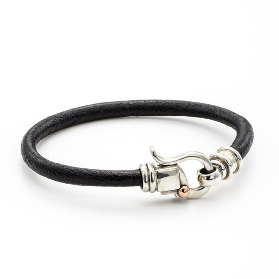 LEATHER BRACELET /leather cord bracelet /  Black leather bracelet/ birthday Gifts / leather bracelet silver  clasps/ handmade jewelry