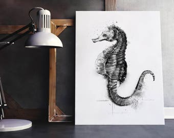 Seahorse drawing with black watercolors  technique. Transfer To Pillows ,Burlap Bag,Tags, or Print on paper , greeting cards, wall art.