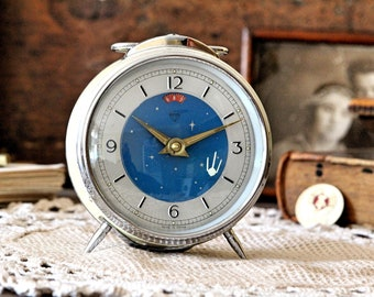 Chinese Clock with Space Satellite - Rare Vintage Alarm Clock - Animated Space Rocket Clock - Retro Clock - Mechanical Wind Up Clock