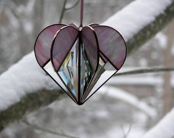 Stained Glass Heart Pink, Stained Glass Suncatcher, Pink Heart, Bevel Heart, Heart ornament, Pink Heart Ornament