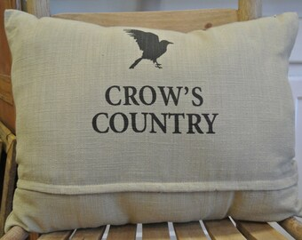 Crow's Country Burlap Pillow