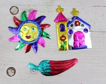 Handmade Mexican Tin Ornaments (Set of 3) Vintage Christmas Tree-Fiesta-Xmas-Gift Ideas-Holiday-Southwest-Coco-Amor-Folk Art-Handcrafted 201