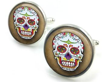 Sugar Skull Cufflinks, day of the dead, dia de los muertos, skull, cuff links 7