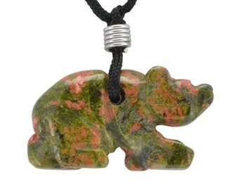 Bear Green Unakite Gemstone Pendant Hand Carved Stone Necklace