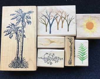 Vintage Nature Elements Rubber Stamps-Palm Tree-Bare Trees-Sun-Sand-Fern-Seaweed-Sprig-Background Stamps-Posh Impressions-Stamp Goods
