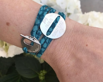 Bracelet Liberty MAJESTIXX custom, engraved, 925 sterling silver turquoise and Emerald