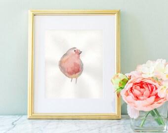 Nursery wall art, wall art, bird art, bird art print, watercolor bird,  red bird, early bird, nursery prints