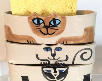 cat pottery: sponge holder cat, Mothers Day gift, cell phone dock blue white wall hanging caddy whimsical feline design happy cat decor