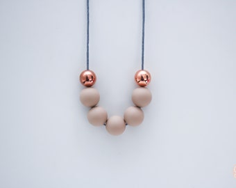 Caramel and Rose Gold Beaded Silicone Necklace