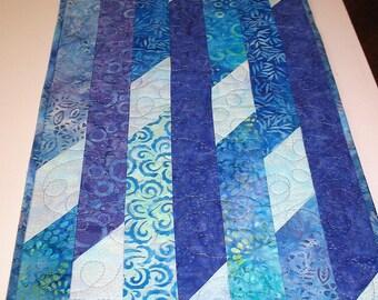 Batik Table Runner, Blue, Purple, Batiks, quilted, handmade, center piece, dresser scarf