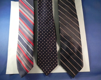 Vintage Mens Neckties  Three From the 1960's Stripes & Dots