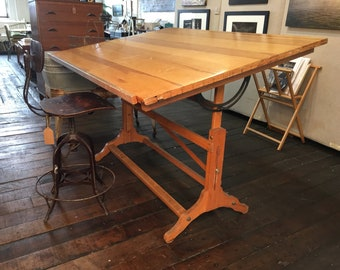 Vintage Adjustable Post Drafting Table, Architect Table, Drawing Table, Artist Table - LOCAL PICK UP