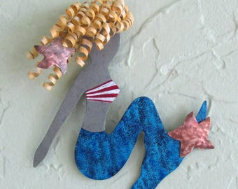 """Mermaid Art Wall Sculpture Lily Recycled Metal Wall Beach House Coastal Decor Indoor Outdoor Blue Blonde  6"""" x 6"""""""