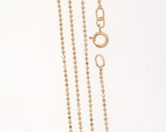 """14K Solid Gold Diamond Cut Ball Chain With Clasp, 16 Inches Or 18"""", Yellow Gold or White Gold"""