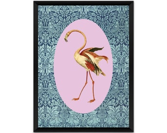 Picture, print, dancing flamingo on blue wallpaper, illustration, poster,wall decor, A4, A3