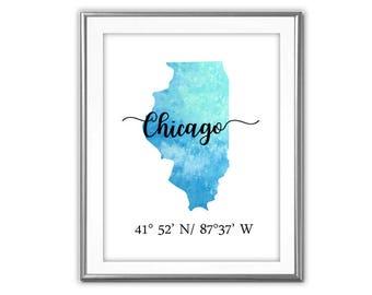 SALE-Illinois State Watercolor Chicago Latitude And Longitude  Digital Print-Wall Art-Digital DesignsHome Decor-Gallery Wall-Typography