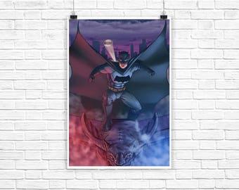 """Batman on Gargoyle 13x19"""" Art Print"""