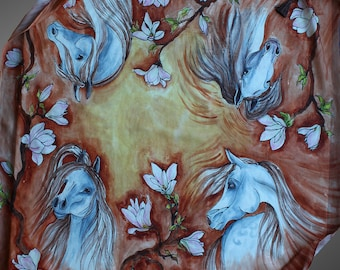 Hand painted silk scarf with horses. White horse silk scarf. Horses and flowers scarf. Square silk scarf. Art to wear.