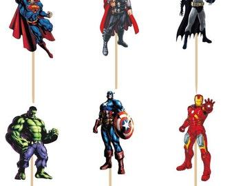 24 pieces avengers superheros cake cupcake toppers