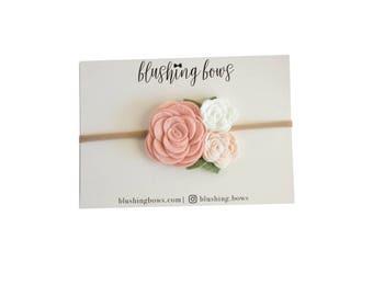 Blush Pink Felt flower crown, felt flower headband,