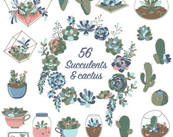 Succulents Clip Art - Hand Drawn Succulents, Cactus and Terrarium Clipart, Wedding Succulents Vector - INSTANT DOWNLOAD