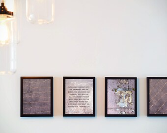 Set of 4 Digital Prints / Peaches&Plum / Wall Art Prints / Inspirational Quote / Print at Home / DIY