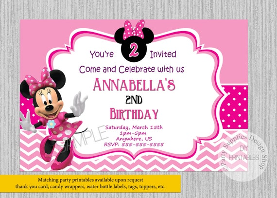 Pink minnie mouse birthday invitations any age minnie like this item bookmarktalkfo Images