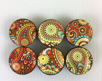 Set of 6 Rust and Yellow Paisley Cabinet Knobs