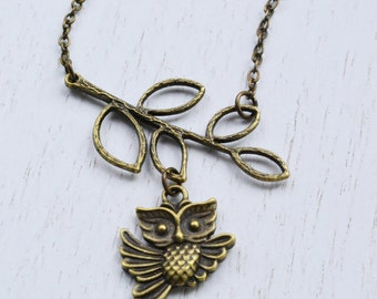 Owl Necklace, Branch Necklace, Tree Branch, Owl Jewelry Necklace, Leaf Pendant, Owl Charm NecklaceOwl Necklace, Branch Necklace, Tree Branc