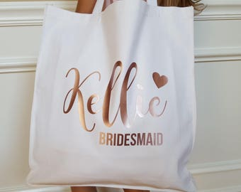 Personalized  Bridesmaid tote bag Bridesmaids gift Maid of Honor flower girl Bride Rose gold