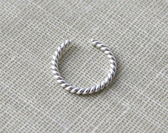 Sterling Silver Twist Ear Cuff Faux Piercing Nose Ring